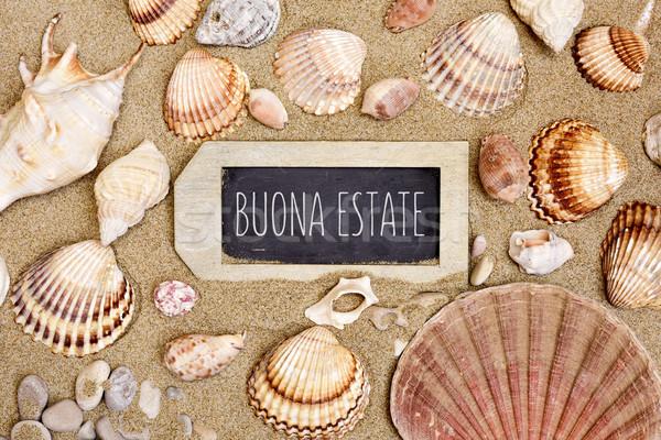 ракушки песок текста счастливым лет итальянский Сток-фото © nito