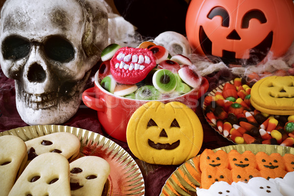 cookies and candies on an ornamented table for Halloween Stock photo © nito