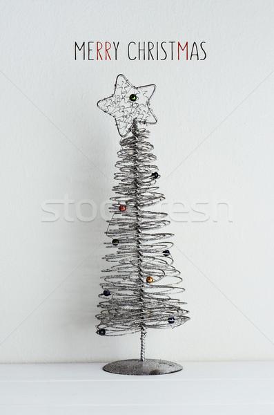 Karácsonyfa szöveg vidám karácsony egyszerűsített drót Stock fotó © nito