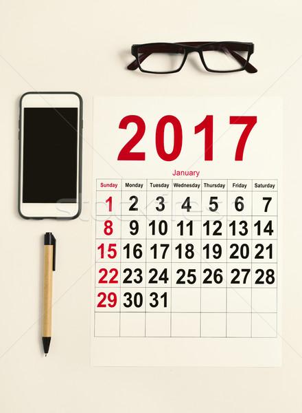Naptár irodai asztal lövés pár szemüveg okostelefon Stock fotó © nito
