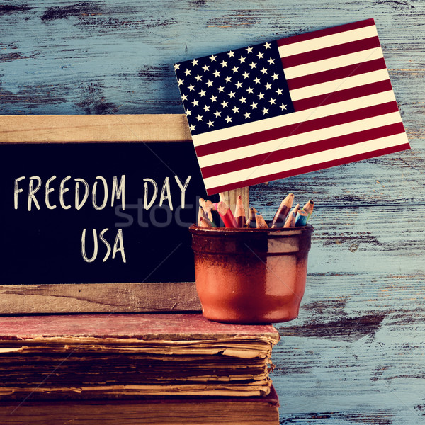 text freedom day usa and american flag Stock photo © nito