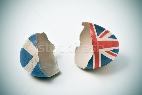 cracked eggshell with scottish and british flags Stock photo © nito