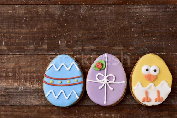 Sütik díszített húsvéti tojások csirke köteg különböző Stock fotó © nito