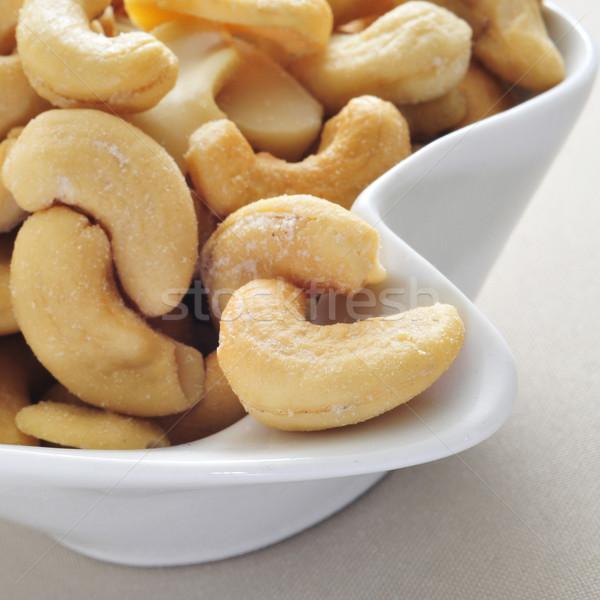 Gezouten kom beige tafelkleed Stockfoto © nito