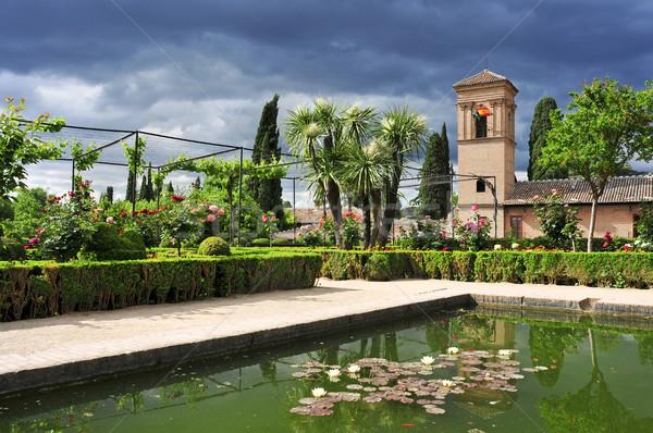 LA Alhambra Spanyolország kertek San Francisco égbolt Stock fotó © nito