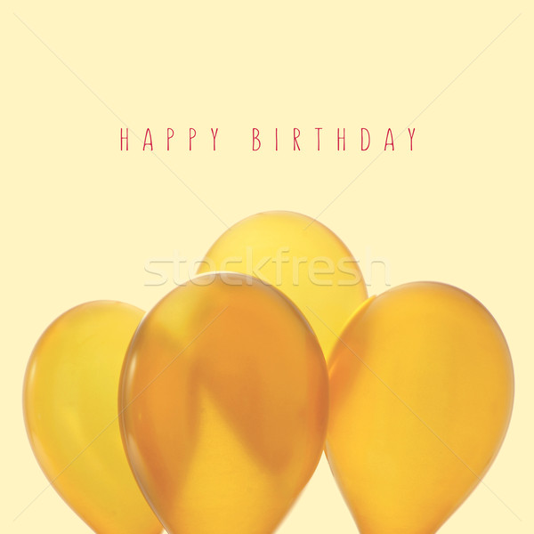 inflated golden balloons and text happy birthday, with a retro e Stock photo © nito