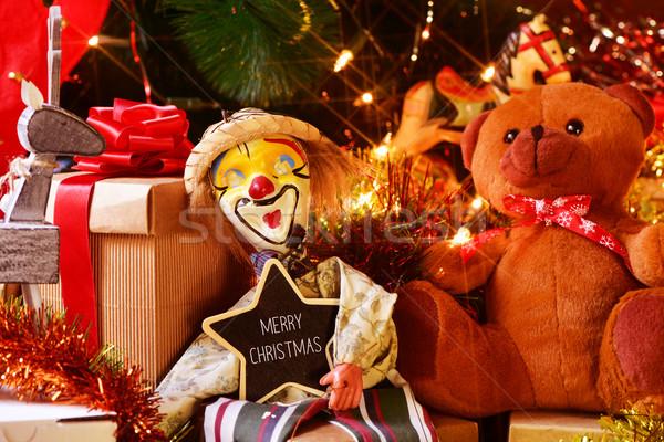 игрушками подарки рождественская елка текста веселый Рождества Сток-фото © nito