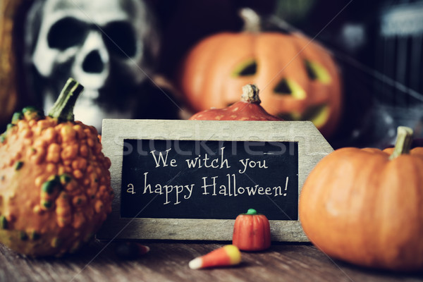 text We witch you a happy Halloween in a chalkboard Stock photo © nito