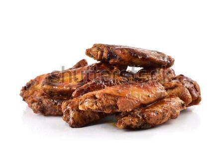 Barbecue tyúk szárnyak közelkép fehér fény Stock fotó © nito