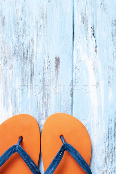 Orange blau rustikal Holz Oberfläche Stock foto © nito