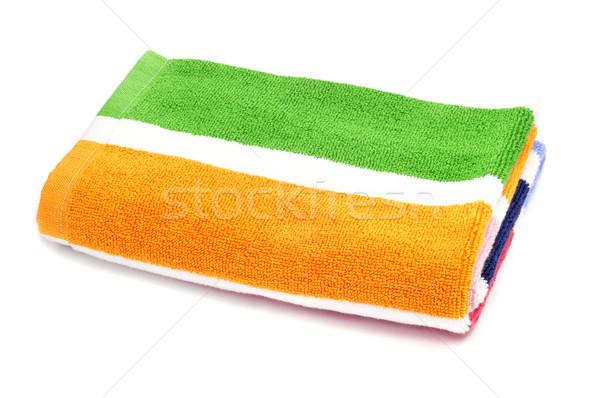 Toalla de playa colorido a rayas blanco mar naranja Foto stock © nito