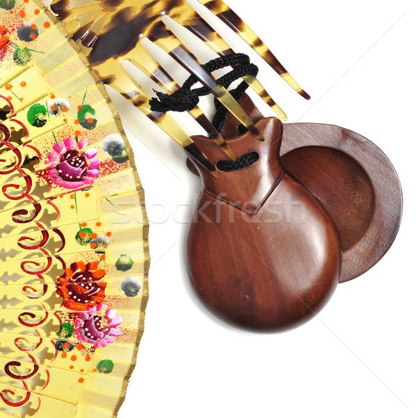 spanish castanets, peineta and hand fan Stock photo © nito