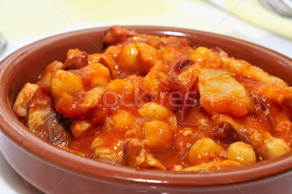 Spaans stoven rundvlees typisch Spanje chorizo Stockfoto © nito