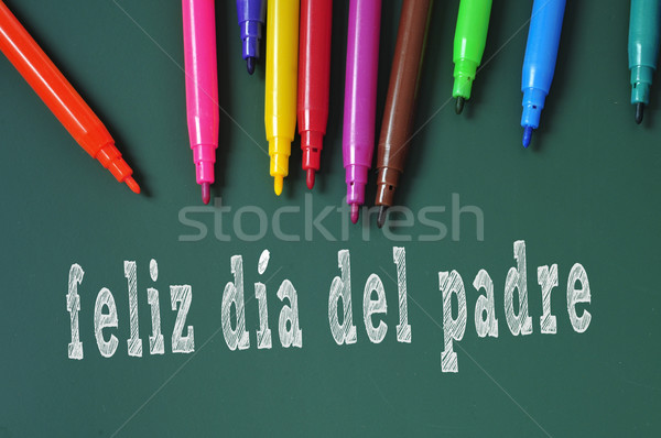 feliz dia del padre, happy fathers day written in spanish Stock photo © nito