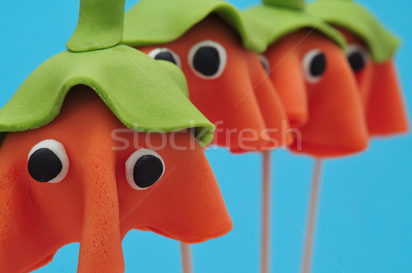 homemade cake pops with the shape of ghost Halloween pumpkins Stock photo © nito