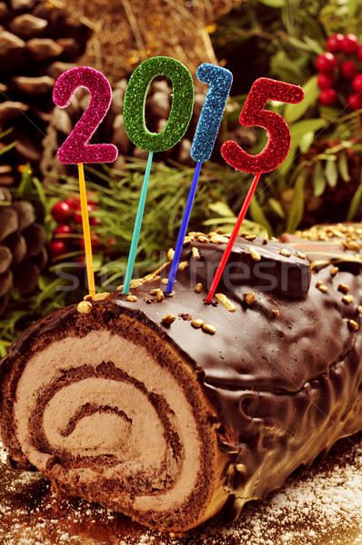 2015 yule log cake Stock photo © nito