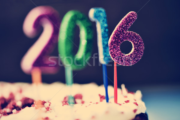 glittering numbers forming number 2016 on a cake Stock photo © nito