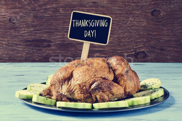 roast turkey with a black label with the text thanksgiving day Stock photo © nito