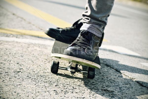 young man skateboarding, filtered Stock photo © nito