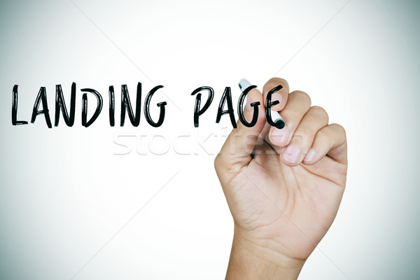man writing the text landing page Stock photo © nito