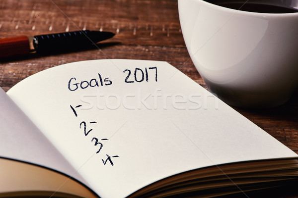 notebook with a blank list of goals for 2017 Stock photo © nito
