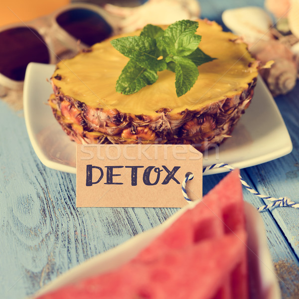 pineapple, watermelon and word detox Stock photo © nito