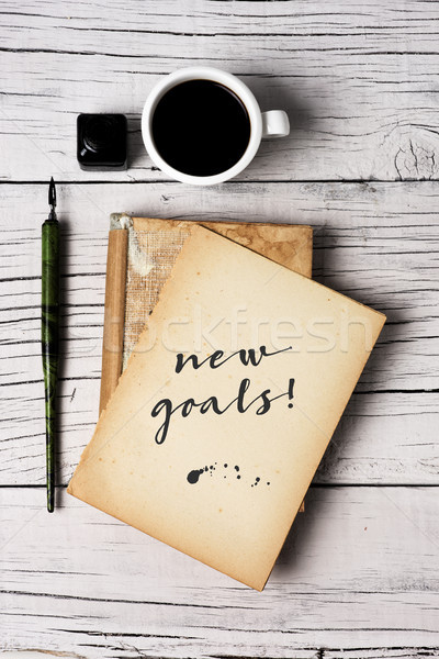 text new goals in a yellowish note Stock photo © nito