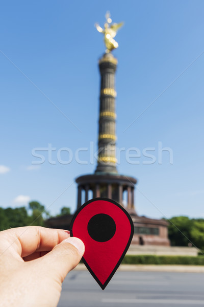 man with a red marker in the Berlin Victory Column Stock photo © nito