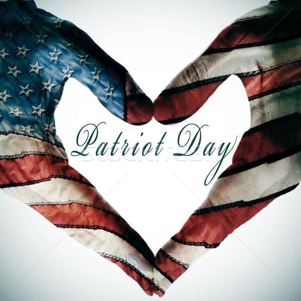 Patriota dzień napisany serca podpisania Zdjęcia stock © nito