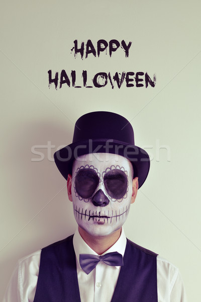 text happy halloween and man with calaveras makeup Stock photo © nito