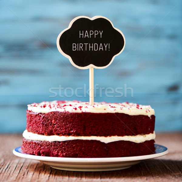chalkboard with the text happy birthday in a cake Stock photo © nito