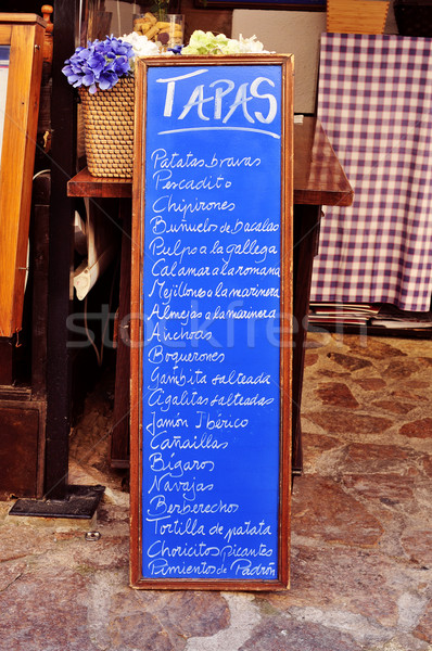 Tábla menü tapas Spanyolország étterem különböző Stock fotó © nito