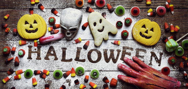 candies, cookies and word Halloween Stock photo © nito