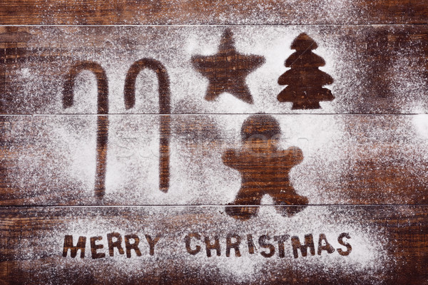 canes, ginberbread man, star, tree and text merry christmas Stock photo © nito