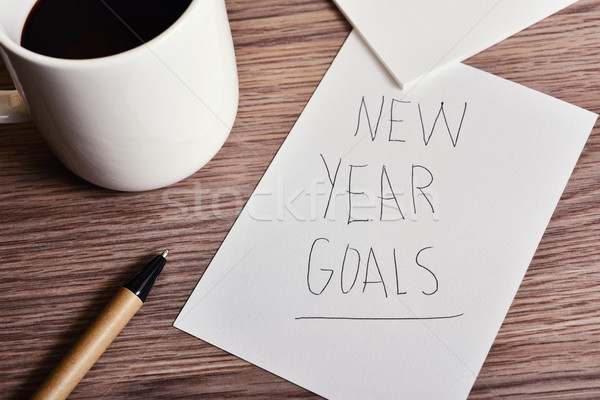 cup of coffee and text new year goals Stock photo © nito