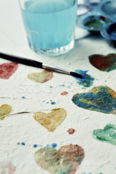 Сток-фото: акварель · сердцах · кусок · бумаги · различный