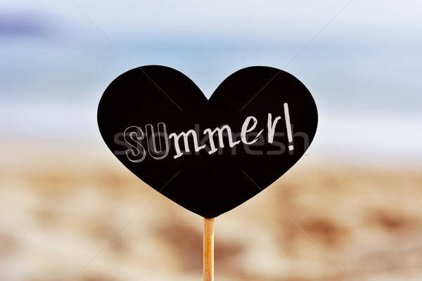 signboard with the word summer on the beach Stock photo © nito