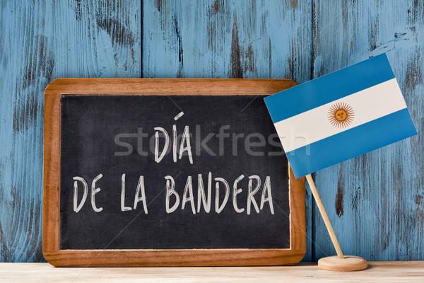 La banderą dzień tekst napisany hiszpanski Zdjęcia stock © nito