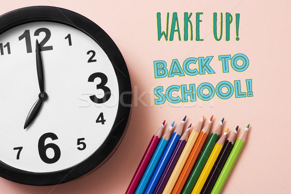 Ceruza zsírkréták óra szöveg vissza az iskolába közelkép Stock fotó © nito