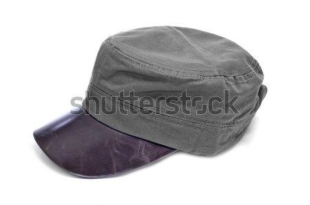 a gray cap with brown leather visor Stock photo © nito