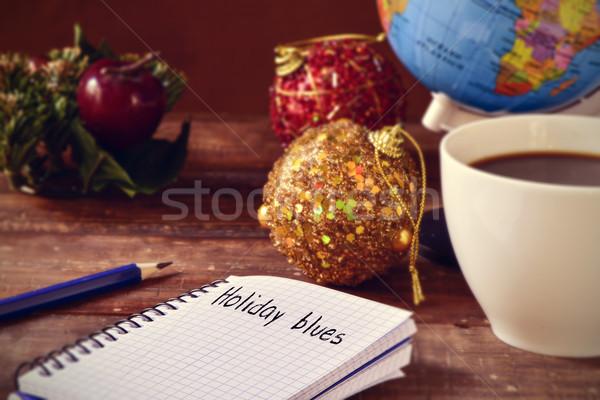 Noel süsler fincan kahve dünya metin Stok fotoğraf © nito