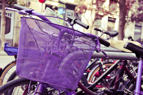 bicycles locked in a street of Barcelona, Spain, filtered Stock photo © nito