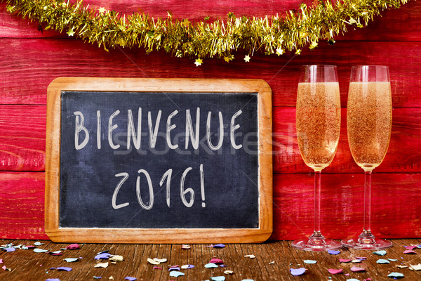 champagne and text bienvenue 2016, welcome 2016 in french Stock photo © nito