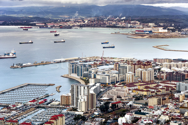 aerial view of Gibraltar from the Rock of Gibraltar Stock photo © nito