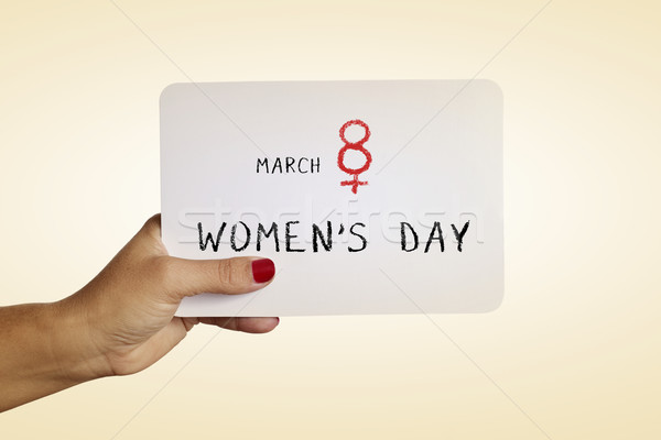 Stock photo: text march 8 womens day in a signboard
