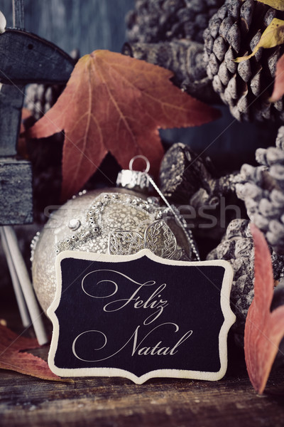 text feliz natal, merry christmas in portuguese Stock photo © nito