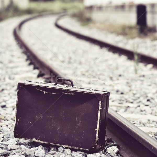 suitcase next to the railroad tracks Stock photo © nito