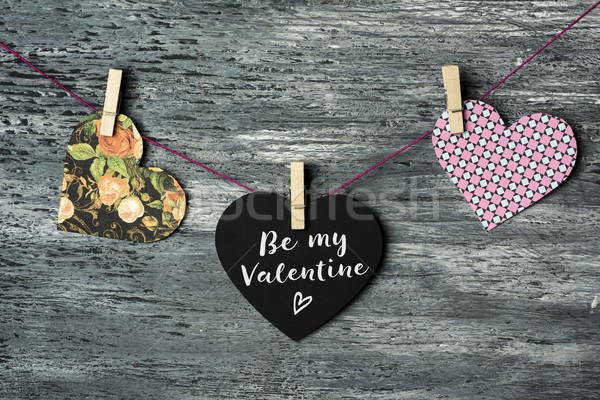 hearts and text be my valentine Stock photo © nito