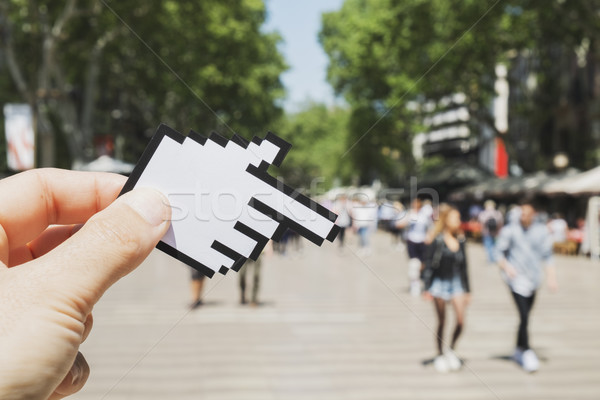 man pointing Las Ramblas in Barcelona, Spain Stock photo © nito