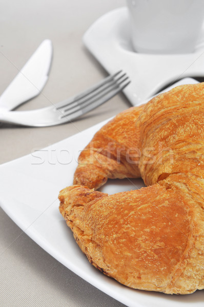 Croissant koffie continentaal ontbijt beker restaurant bar Stockfoto © nito
